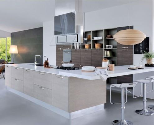 Cuisine DanjouBoda - Tabourets, Plan Snack, Agencement Mural, Electroménager, Salon, Lampes, Hotte en Verre...