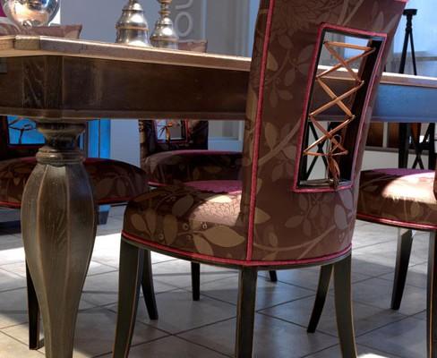 Séjour DanjouBoda - Table Chêne, Chaises Tissu Dos Lacets Cuir, Décoration...