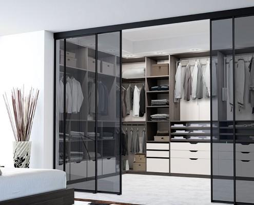 Dressing DanjouBoda - Dressing Loft, Portes Coulissantes Intégrées Suspendues, Accessoires de Rangement, Rétro-Eclairage, Penderie Escamotable...