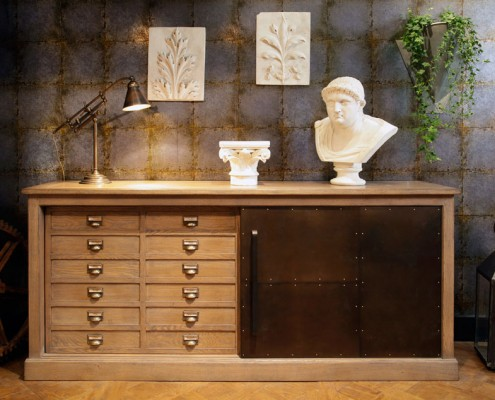 Séjour DanjouBoda - Bahut Chêne 2 portes Coulissantes, Fabrication Artisanale, Lampe, Décoration...