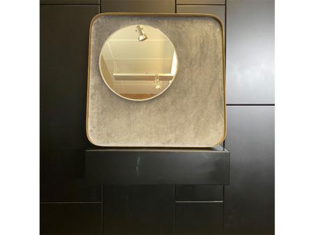 Danjouboda-miroir-decoratif-avec-support-en-velour-gris-et-tour-metallique-dore